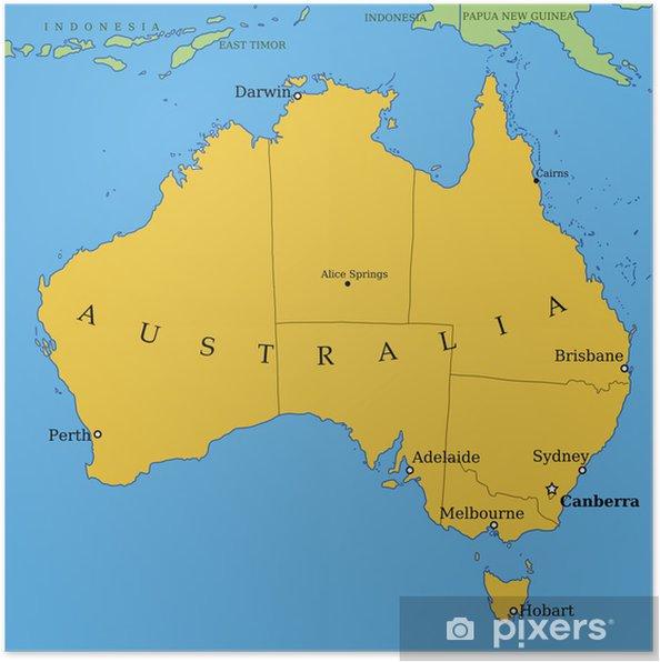Carte Australie Principales Villes.Poster Carte De L Australie Avec Les Grandes Villes Et Les Provinces