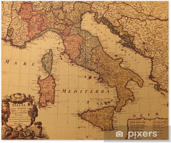Carte Italie Ancienne.Poster Carte De L Italie Antique