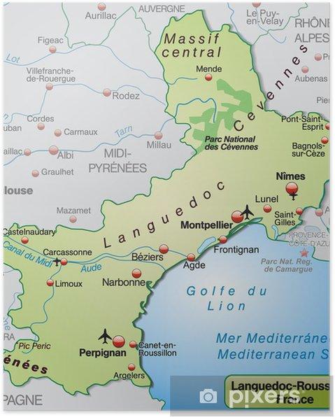 Carte Languedoc Roussillon.Poster Carte De Languedoc Roussillon Pixers Nous Vivons Pour