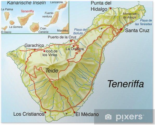 Poster Carte De Tenerife Pixers Nous Vivons Pour Changer