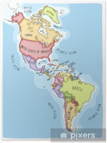 Bresil Mexique Carte.Poster Carte De Vecteur Dessine A La Main Des Ameriques Cartographie Coloree De Styles De Bandes Dessinees D Amerique Du Nord Et Du Sud Y Compris