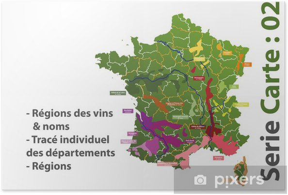 carte des vins de france poster Carte des vins de France Poster • Pixers® • We live to change