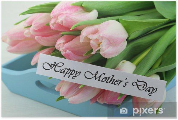 Poster Carte du jour de mère heureux avec les tulipes roses - Fêtes internationales