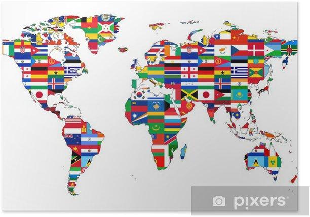 carte du monde avec drapeau Carte du Monde avec drapeaux Poster • Pixers®   We live to change