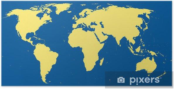 Poster Carte Du Monde Avec Les Continents à Locéan Bleu Foncé