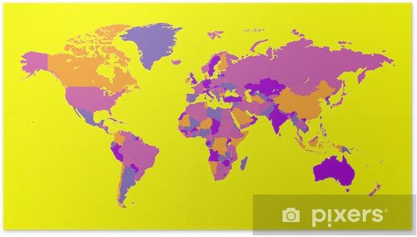 Carte Du Monde Jaune.Poster Carte Du Monde Couleur Jaune