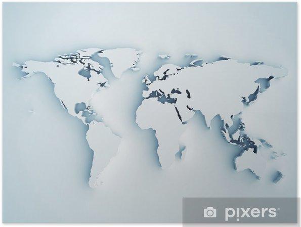 Poster Carte du monde en 3D - Styles