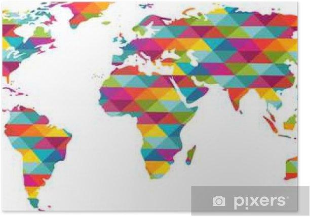 carte du monde en couleur Carte du monde en couleur Poster • Pixers®   We live to change