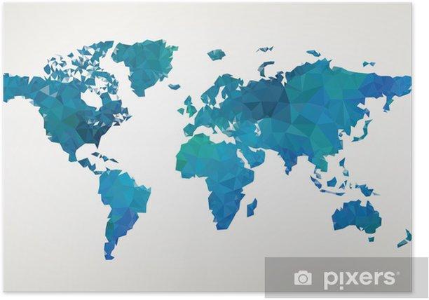 Poster Carte du monde illustration vectorielle de motif abstrait - Espace