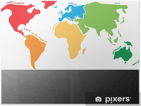 Carte Australie Sur Europe.Poster Carte Du Monde Multicolore Divisee En Six Continents De Differentes Couleurs Amerique Du Nord Amerique Du Sud Afrique Europe Asie Et