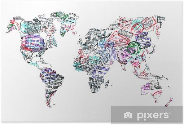 Poster Carte du monde tampons de passeport, isole - iStaging