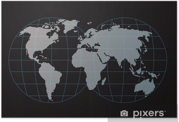 Poster Carte et globe - Espace