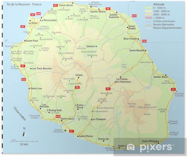 Poster Carte Ile De La Reunion France Voies