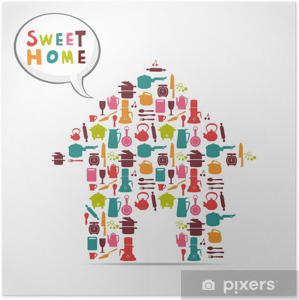 Poster Carte sweet home. - Thèmes