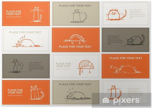 Poster Cartes De Visite A Croquis Pour Votre Conception Chats