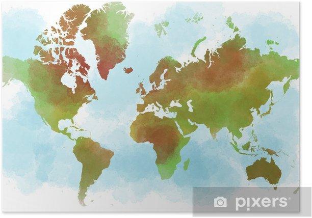Cartina Del Mondo On Line.Cartina Del Mondo Planisfero Disegnato A Mano A Pennellate Poster Pixers We Live To Change