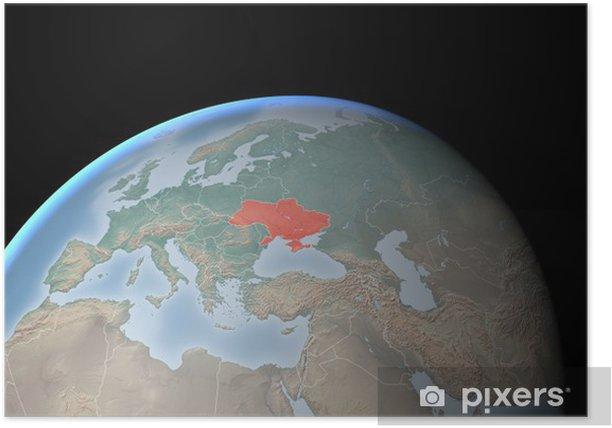 Europa Asia Cartina.Cartina Europa Asia Medio Oriente Crimea E Ucraina Poster