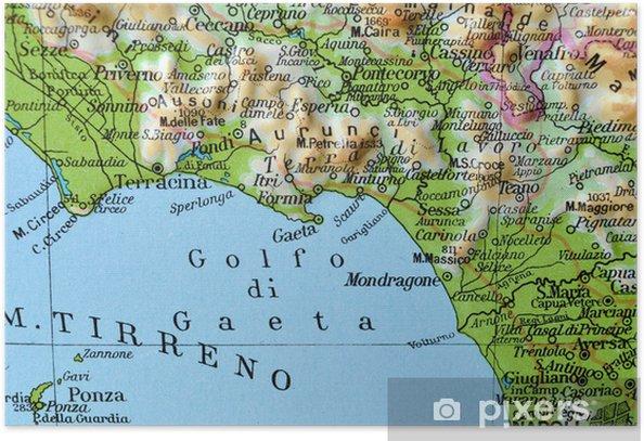 Il Lazio Cartina Geografica.Cartina Geografica Del Lazio Golfo Di Gaeta Poster