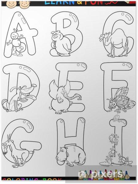 Póster Cartoon Alfabeto con animales para colorear • Pixers ...