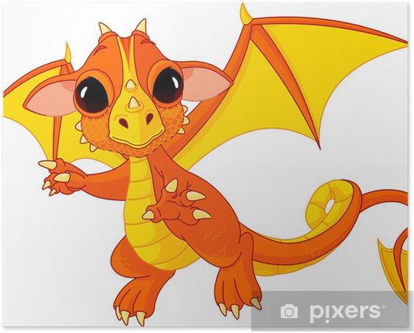 Poster Cartoon bébé dragon - Sticker mural