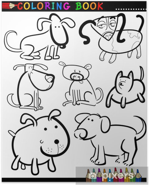 Cartoon Dogs for Coloring Book or Page Poster • Pixers® • We live to ...