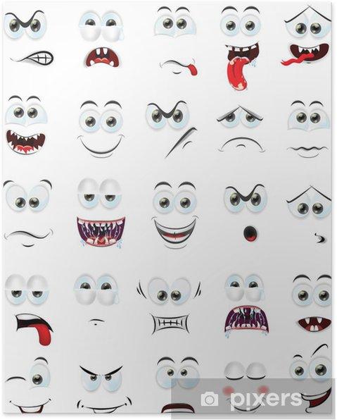 Poster Cartoon faces avec des émotions - Autres sentiments
