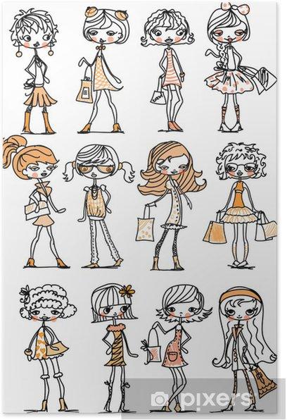 Poster Cartoon filles à la mode - Mode