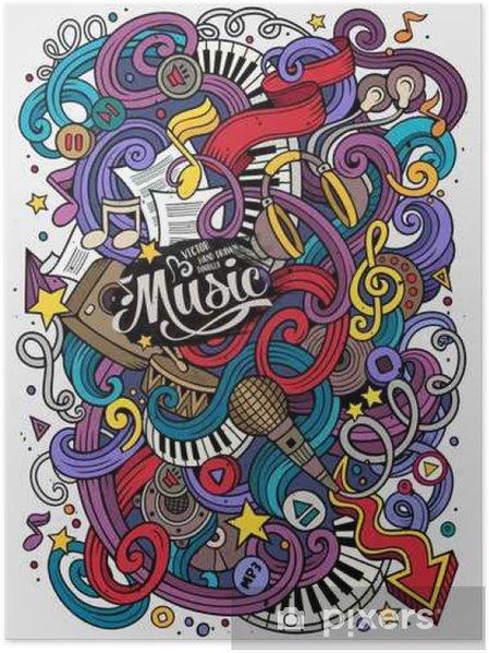 Poster Cartoon hand getekende doodles Musical illustratie - Hobby's en Vrije tijd