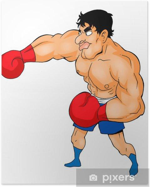 Póster Cartoon ilustración de un boxeador - Deportes individuales