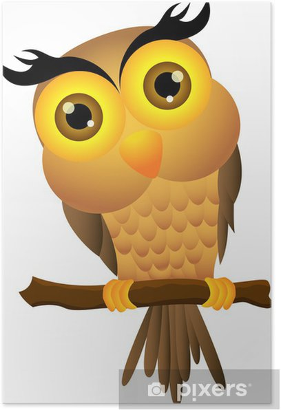 Cartoon owl sitting on tree branch Poster - Birds