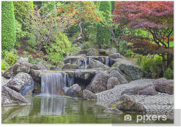 Cascade waterfall in Japanese garden in Bonn Poster - Destinations