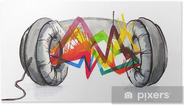 Poster Casque le son - Sticker mural