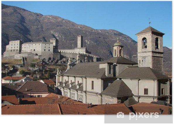 Póster Castelgrande y la catedral en Bellinzona, Suiza - Monumentos