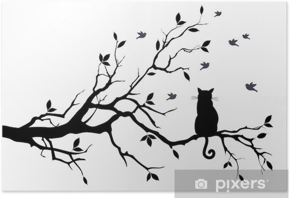 cat on a tree with birds, vector Poster - Science & Nature