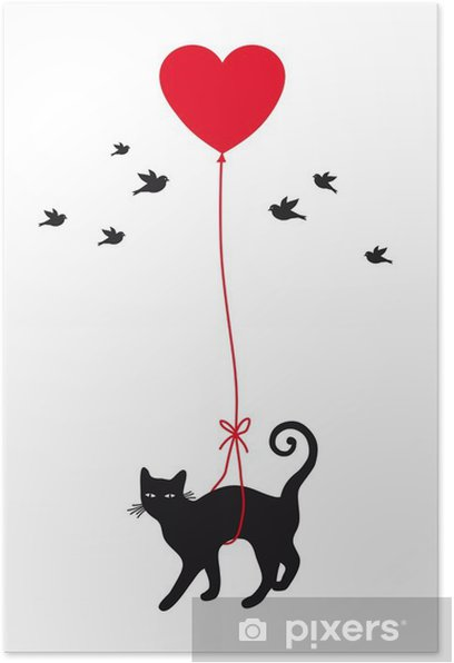 cat with heart balloon, vector Poster - Lifestyle
