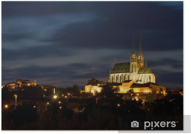Cathedral Petrov and castle Spilberk at night - Brno. Poster - Themes