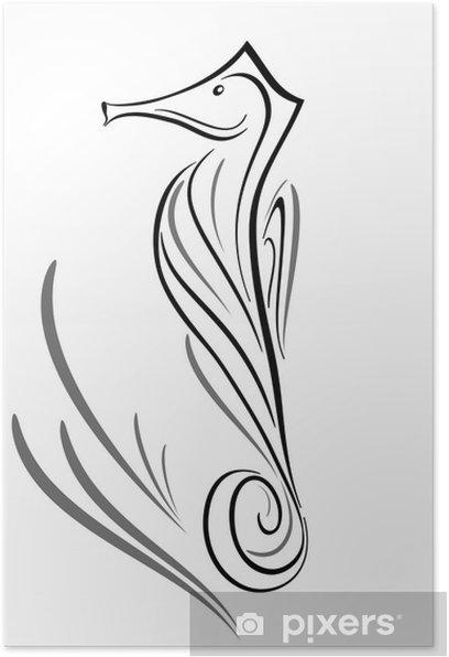 Poster Cavalluccio marino tatouage tribale - Animaux marins