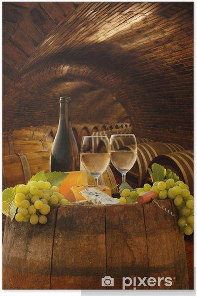 Poster Cave de vigne avec des verres de vin blanc contre de barils - Thèmes