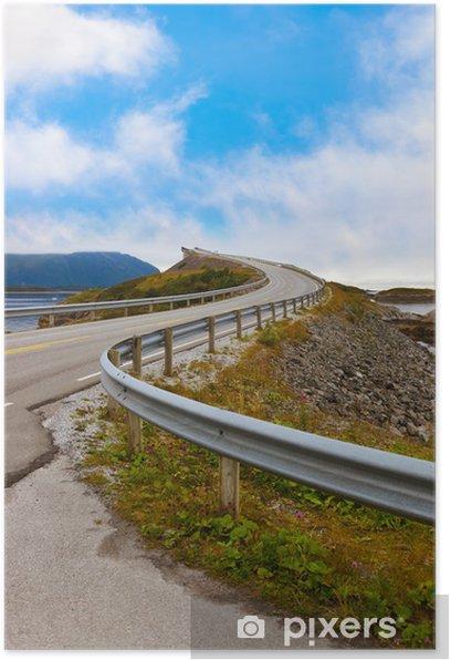 Poster Célèbre pont sur la route de l'Atlantique en Norvège - Vacances