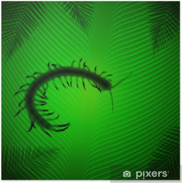 Poster Centipede ombre sur la feuille de banane sous le soleil tropical - Animaux imaginaires