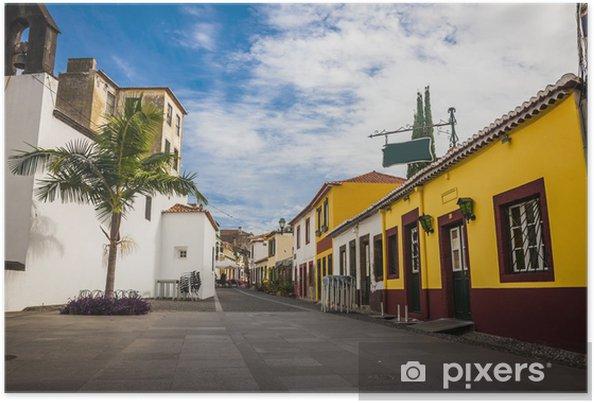Poster Centre de la vieille ville historique de Funchal, Madère, Portugal. - Paysages urbains