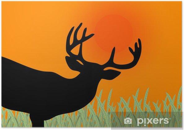 Poster Cerf silhouette sur un coucher de soleil - Mammifères