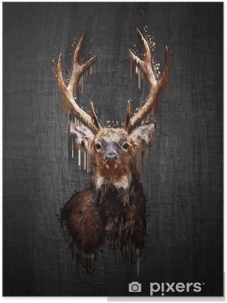 Poster Cerfs sur fond sombre. Peinture effet - Animaux