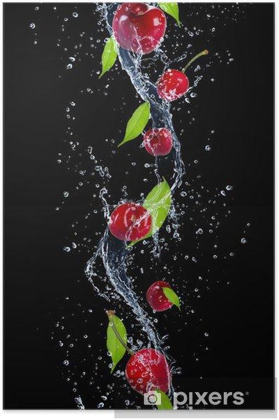 Poster Cerises dans les projections d'eau, isolé sur fond noir -