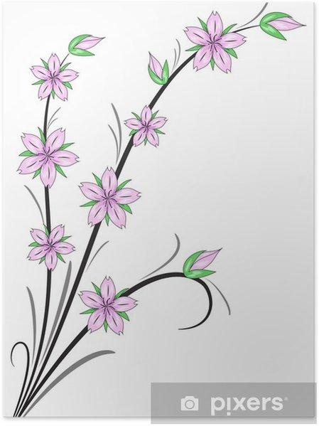 Fleurs Stylisées poster cerisiers en fleurs stylisées • pixers® - nous vivons pour