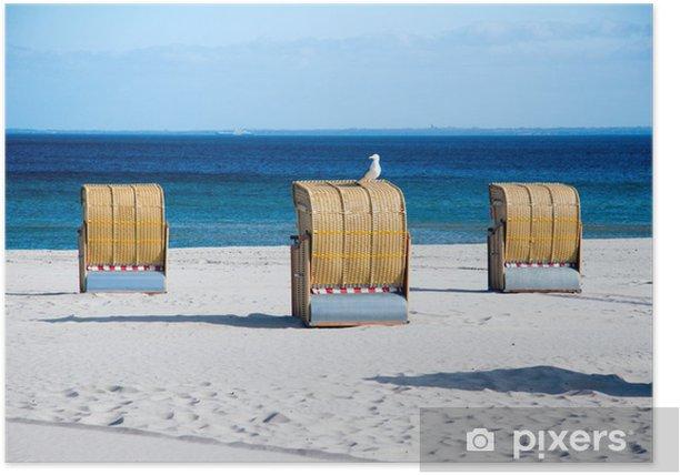 Poster Chaise de plage avec mouette - Vacances
