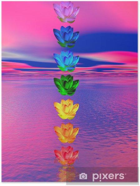Poster Chakra kleuren van de lelie bloem - Tekens en Symbolen