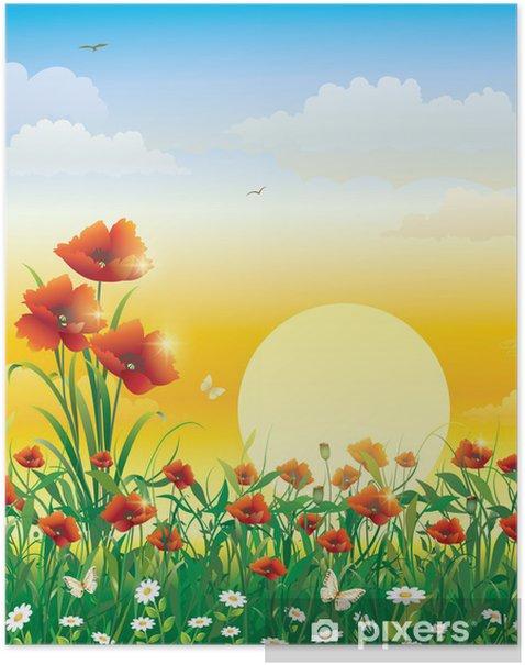 Poster Champ de fleurs sur un fond de l'aube solaire - Thèmes