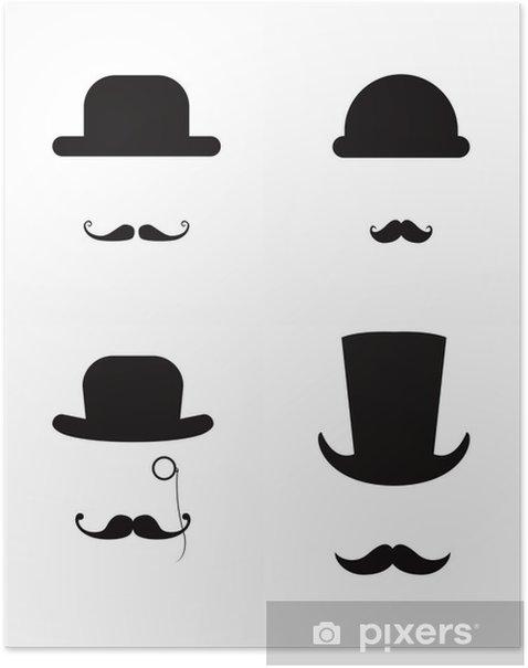 Poster Chapeau et la moustache icône ensemble - Signes et symboles