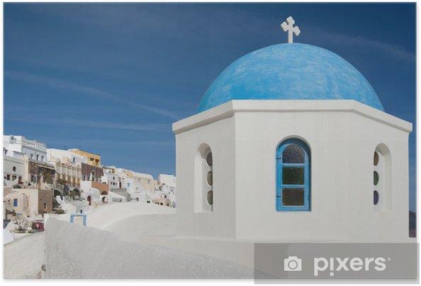 Poster Chapelle grecque de Santorin - Europe